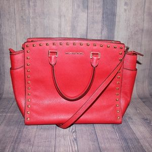 EUC- Michael Kors LG Studded Red Selma Satchel